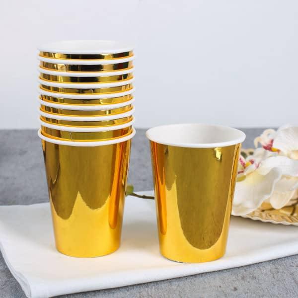 10 Pappbecher gold