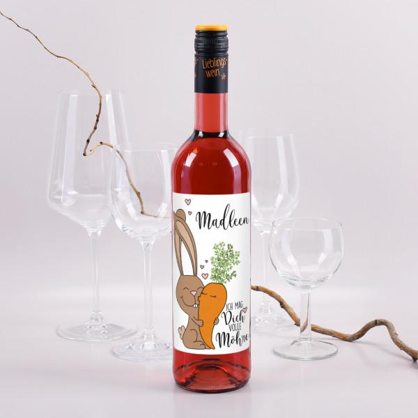 Weinflasche Rosé zu Ostern mit Hasen und Möhren Motiv mit Namensdruck