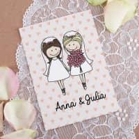 Geschenkkarte zur Hochzeit mit Braut- oder Bräutigam-Motiv und Namen
