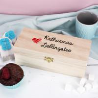 Holzteebox Lieblingstee mit Name in 3 Größen
