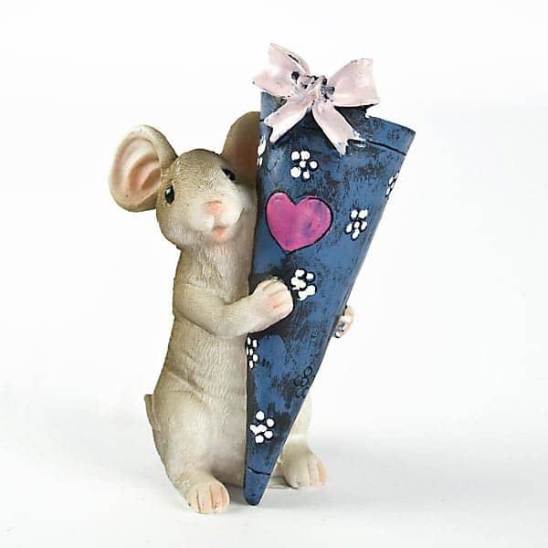 Maus mit Schultüte zum Befüllen blau