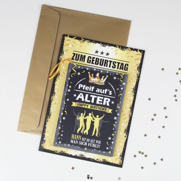 Geburtstagskarte mit Spaßbuch für Männer