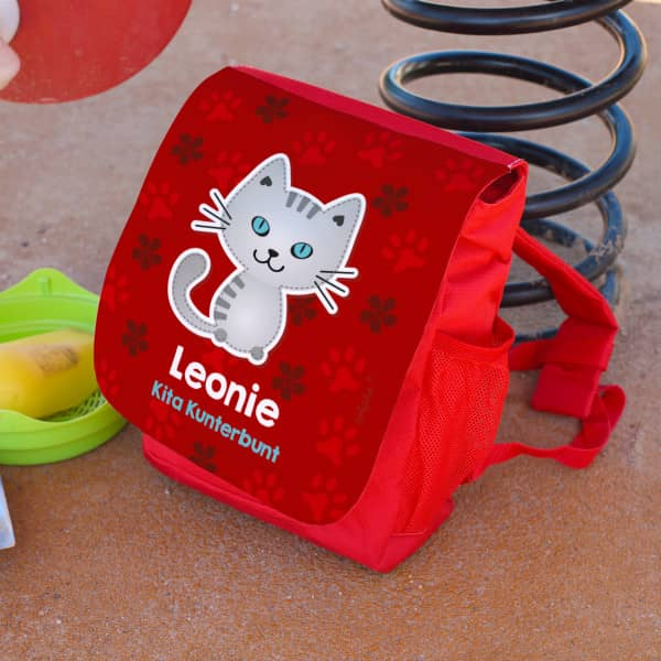 Kinderrucksack mit kleiner Katze und Wunschtext