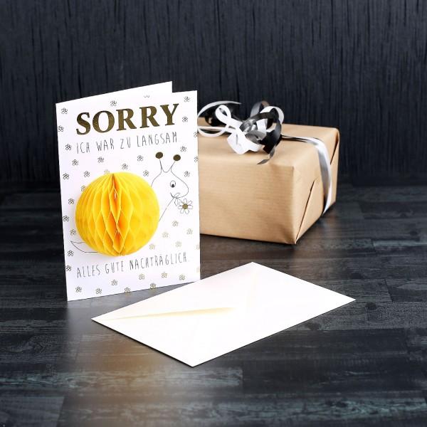 Pom Pom Geburtstagskarte - Sorry