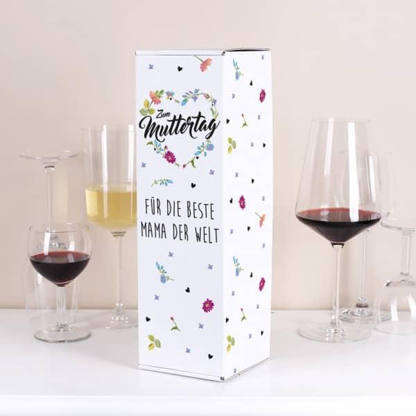Flaschenverpackung zum Muttertag mit Blumenherz und Wunschtext bedruckt