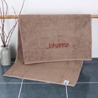 Handtuch in wallnussbraun mit Name bestickt, 3 Größen zur Auswahl, Badetuch, Gästehandtuch