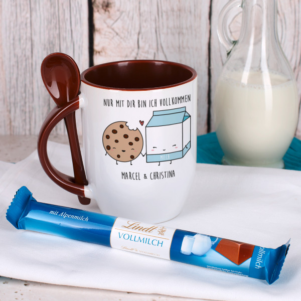 Löffeltasse ''Nur mit dir bin ich vollkommen'' mit Lindt Schokolade
