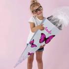 Schultüte mit 3D Schmetterlingen und Name