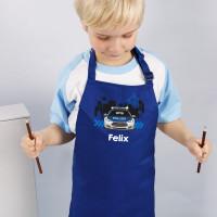 Blaue Kinderschürze mit Polizeimotiv und Namensaufdruck