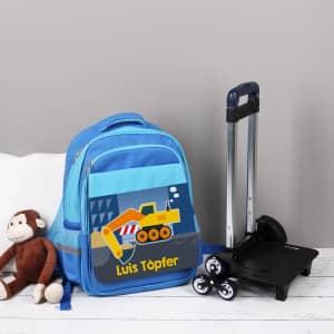 Kindertrolley mit Bagger Motiv und Name