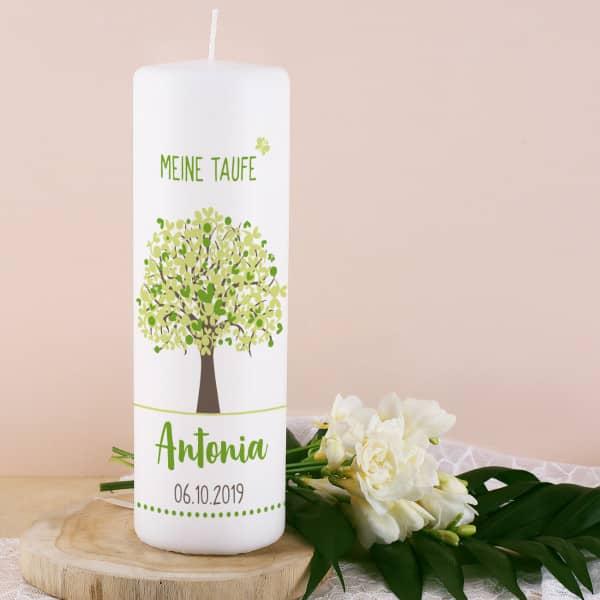 Lebensbaum Taufkerze in grün