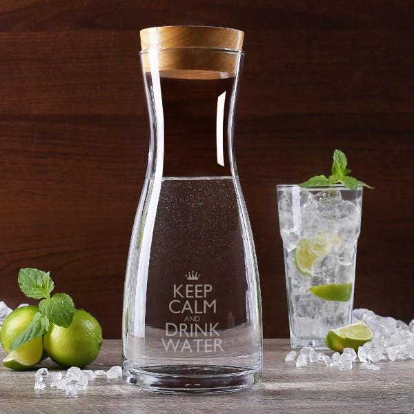 gravierte Glaskaraffe Keep Calm and Drink Water