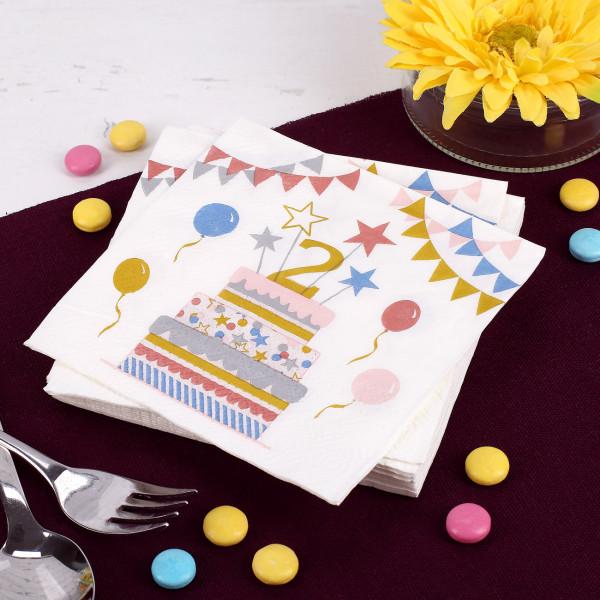 Geburtstags-Servietten zum 2. Geburtstag