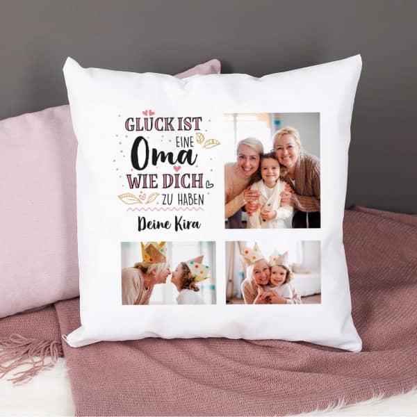 Glück ist eine Oma wie dich zu haben - Fotokissen mit Wunschtext