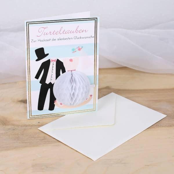 Pom Pom Glückwunschkarte zur Hochzeit Turteltauben