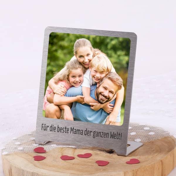 kleiner Fotoaufsteller mit Ihrem Wunschtext und Lieblingsfoto