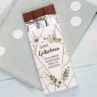 Gutschein-Schokolade mit Blüten und Wunschtext