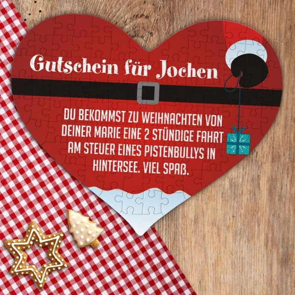 Puzzle Gutschein als Weihnachtsgeschenk mit Ihrem Wunschtext