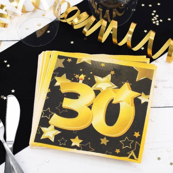 20 Servietten zum 30. Geburtstag - Star