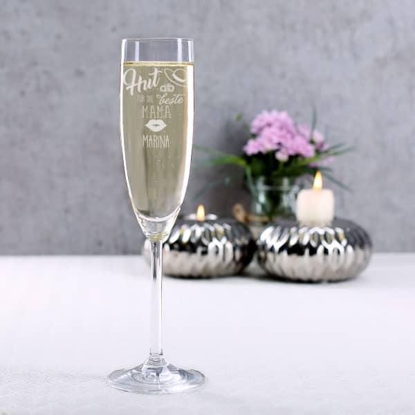 Sektglas für die beste Mama mit Gravur des Wunschnamen