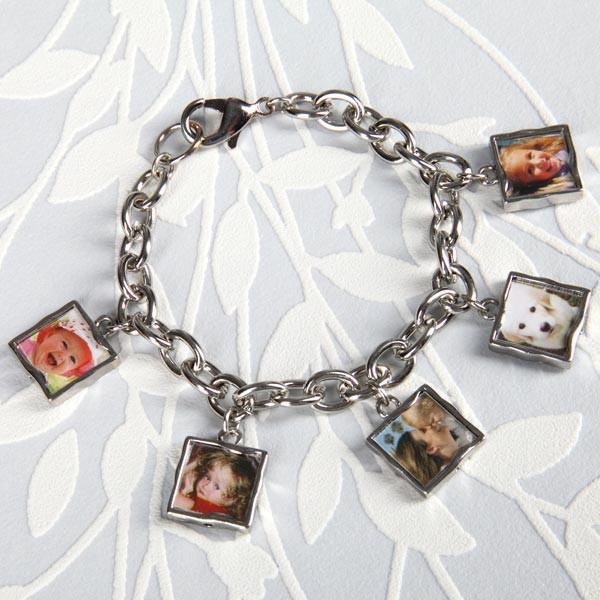 Silbernes Gliederarmband für 5 persönliche Fotos