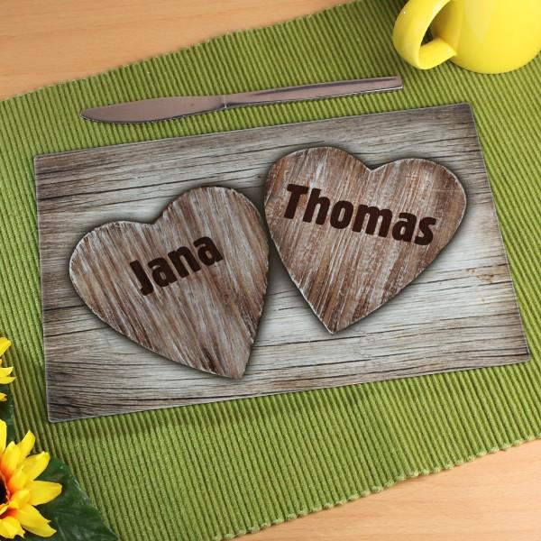 Top Geschenk zum Valentinstag Glasbrettchen mit Herzen und Wunschnamen