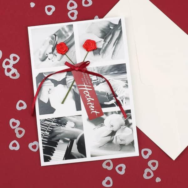Glückwunschkarte zur Hochzeit Rote Rosen