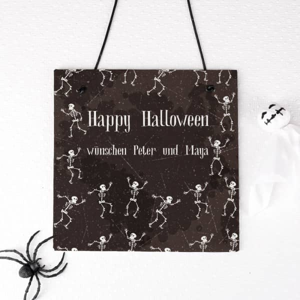 Lustige Halloween Schiefertafel mit Wunschtext