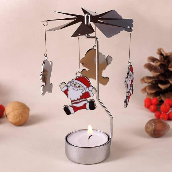Rotierender Teelichthalter tanzender Santa