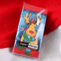 Taschentücher zu Weihnachten - Rentier mit Schal