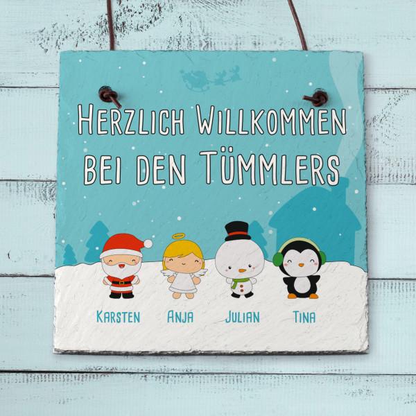Schieferplatte mit Weihnachtsfiguren, Ihren Namen und Ihrem Wunschtext
