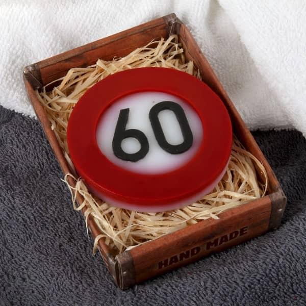 Handseife zum 60. Geburtstag mit Verkehrszeichenmotiv
