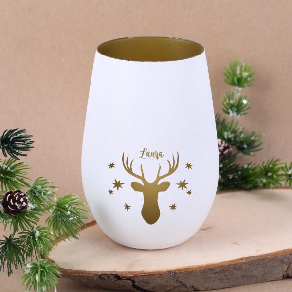 Nützlichdekoration - Weißes Windlicht mit Rentier, Sternen und Wunschname - Onlineshop Geschenke online.de