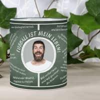 Fussball-Fan-Tasse bedruckt mit Fussballweisheiten und Wunschtext und Foto