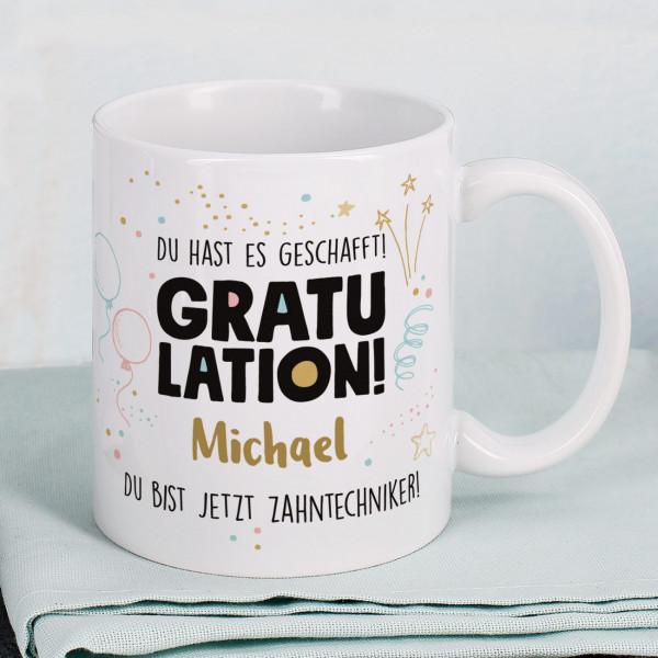 Gratulation, du hast es geschafft! Tasse mit Name und Wunschtext