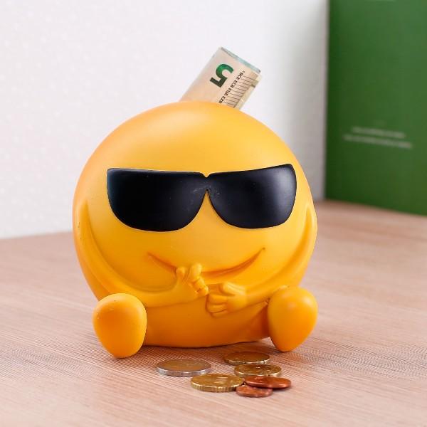 Spardose - lässiges Emoticon mit Sonnenbrille