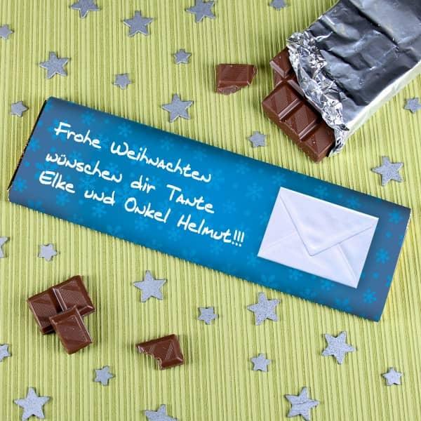 Schokolade zu Weihnachten mit Wunschtext und Briefumschlag