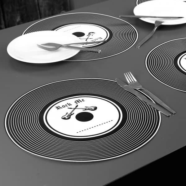 6er Set Platzdeckchen im Schallplatten Look