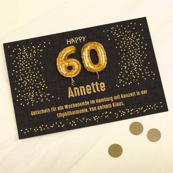 Happy 60 - Puzzle mit Name und Wunschtext, 120 Teile
