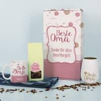 Beste Oma - Tasse, Tee und Windlicht in persönlicher Geschenkverpackung