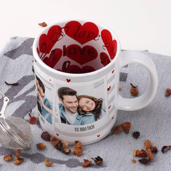 Individuellfotogeschenke - Fototasse zum Valentinstag mit 3 Fotos, Wunschtexten und Herzen - Onlineshop Geschenke online.de