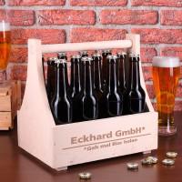 Bierflaschenträger Geh mal Bier holen graviert mit Name