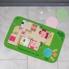 Kleiner Puppenhaus - Spielteppich mit Wunschtext 76x45cm