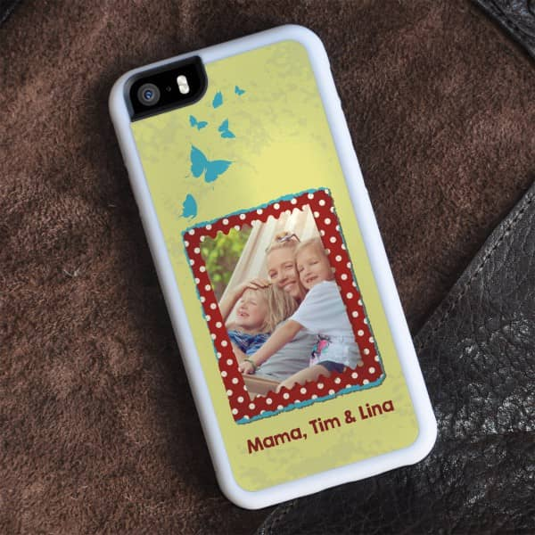 weißes iPhone 6 Cover mit Foto, Wunschtext und Schmetterlingen