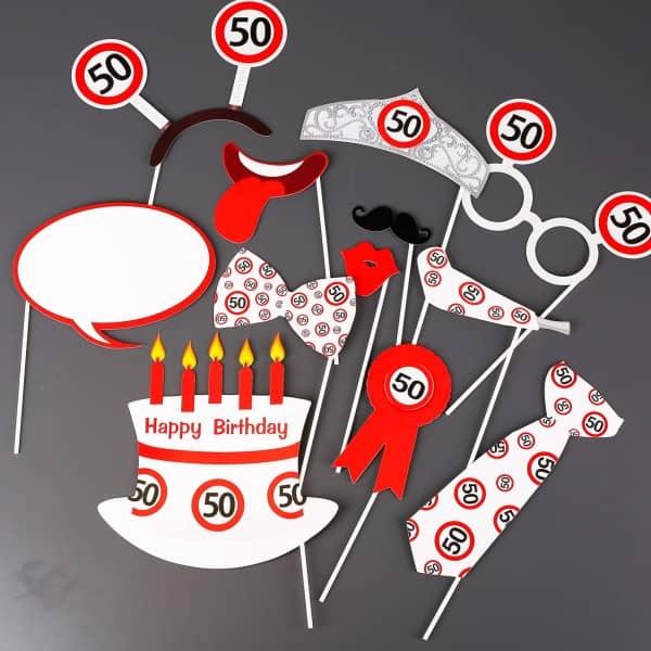 Photo Booth - Set für Partyfotos zum 50. Geburtstag