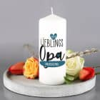 Lieblingsopa - weiße Kerze mit Name und Wunschtext
