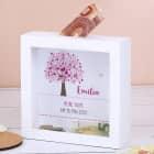 Bilderrahmen Spardose zur Taufe, Kommunion oder Konfirmation mit Lebensbaum in rosa
