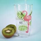 Trinkglas -Tropical- mit Flamingo und Name