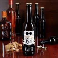 Bierflaschenaufkleber Vatertagsbier mit Hosenträger und Name