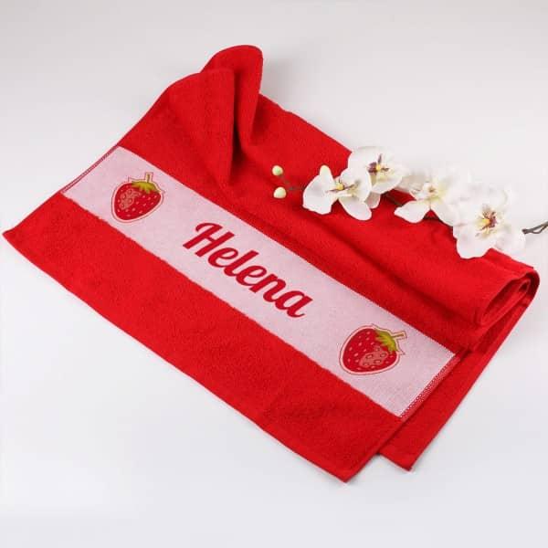 Individuellbadzubehör - Handtuch in rot mit Erdbeeren und Wunschname - Onlineshop Geschenke online.de